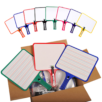 Picture of Kleenslate dry erase paddles 12pk  rectangular classroom set
