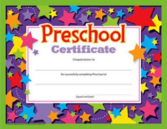 Picture of Preschool certificate 30/pk