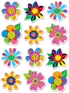Poppin patterns spring flowers  stickers
