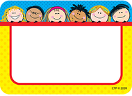 Smiling stick kids name tags