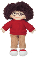 19 soft cuddly doll w/ glasses boy