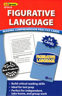 Figurative language reading  comprehension practice cards blue
