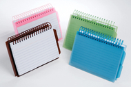 View front spiral index cards 3x5  poly cover