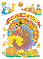 Window cling cute animals 12 x 17  thanksgiving