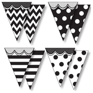 Big & bold black & white pennants  with pizzazz