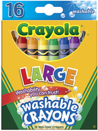 Crayola washable crayons 16ct large  4 x 7/16