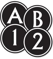 Big & bold black & white circle  letters