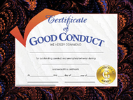 Certificates good conduct 30/pk  8.5 x 11