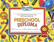 Diplomas preschool 30/pk 8.5 x 11  red ribbon