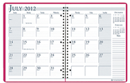 Academic monthly planner 8 1/2 x 11  pink wirebound