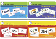 Picture sight words homophones  picture flash card set 4p