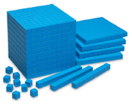Base ten starter set plastic blue  100 units 30 rods 10 flats 1 cube