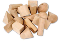 Wooden geometric solids set of 19