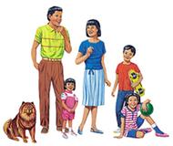 Multicultural families 4-set  flannelboard set pre-cut