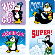 Stickers penguins 120/pk acid &  lignin free