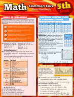 Math common core 5th grade  laminated study guide