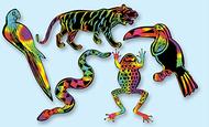 Scratch art scratchin rainforest  shapes group pack 5 shapes 25/pkg