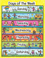 Days of the week kid-drawn  laminated chartlet