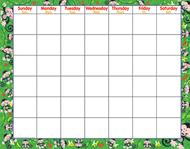 Monkey mischief wipe-off monthly  calendar grid