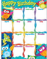 Happy birthday owl stars learning  chart