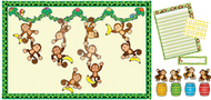 Monkey bulletin board essentials  set