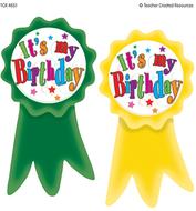 Birthday ribbons wear em badges