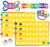 Paw prints counting to 100 bulletin  board set