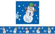 Border snowmen kid-drawn straight