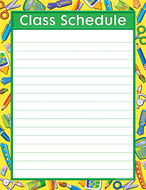 Tools for school class schedule  chart