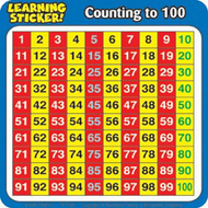 Counting to 100 4in learning  stickers 20 per pack