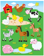 Farm shape stickers 72pk