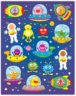 Out of this world shape stickers  90pk