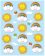 Suns & rainbows shape stickers 90pk