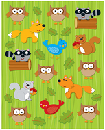 Woodland animals shape stickers  84pk