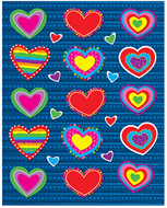 Hearts shape stickers 90pk