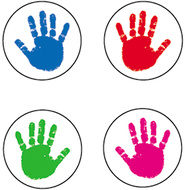 Chart seals handprints 810/pk acid  & lignin free