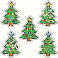 Dazzle stickers christmas trees 75  acid & lignin free