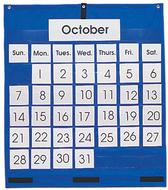 Pocket chart monthly calendar  25 x 28