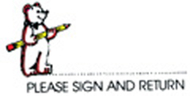 Stamp please sign and return bear