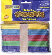 Jumbo craft sticks 6 x 3/4 100/pk  bright hues