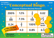 Conceptual bingo convert fraction  decimal percent