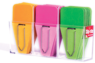 Small solid clip tabs orange pink  green