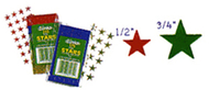 Stickers foil stars 1/2in red 250pk