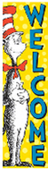 Vertical banner cat in the hat  welcome