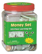 Tub of coins currency