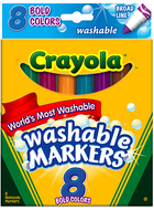 Washable markers 8 pk bold colors  conical tip
