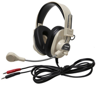 Deluxe multimedia stereo headset w/  boom microphone w/ dual 3.5mm plug