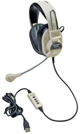 Deluxe multimedia stereo headset w/  boom microphone w/ usb plug