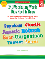 240 vocabulary words kids need to  know gr 4
