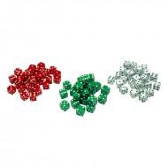 Red green & white dot dice 36/pk